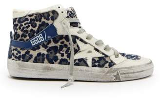 Golden Goose Leopard Print Velvet High Top Trainers - Womens - Navy Multi