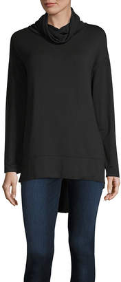 Liz Claiborne Womens Mock Neck Long Sleeve Tunic Top