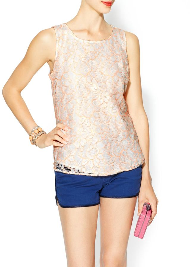 Pim + Larkin Lace Shell With Neon Detail
