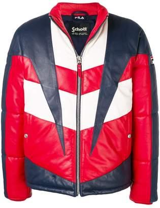 Fila contrast panels leather jacket