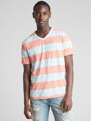 Stripe Short Sleeve V-Neck T-Shirt in Slub Cotton
