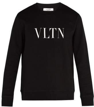 Valentino Logo Print Cotton Blend Sweatshirt - Mens - Black