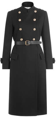 Philosophy di Lorenzo Serafini Wool Coat with Belt and Embossed Buttons