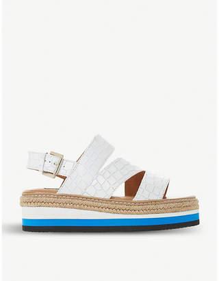 Dune Black Look crocodile-embossed leather flatform sandals