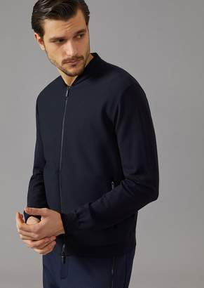 Giorgio Armani Knit Bomber Jacket With Micro-Openwork Panel