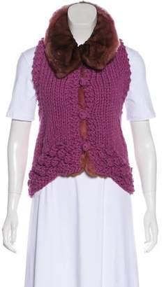 Ermanno Scervino Mink-Trimmed Knit Vest w/ Tags