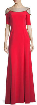 Jenny Packham Short-Sleeve A-Line Evening Gown with Jeweled Beading