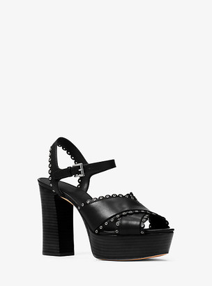Michael Kors Jessie Leather Platform Sandal