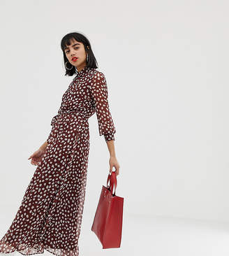 Vero Moda Petite Petite smudge print dobby maxi dress in brown
