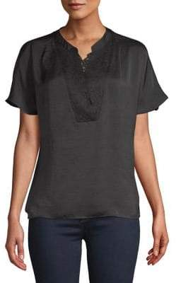Vero Moda Lace-Trimmed Short Sleeve Blouse