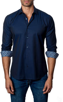 Jared Lang Men's Semi-Fitted Contrast-Cuff Sport Shirt