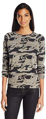 Monrow Women's Vintage Sweatshirt with Bone Blue Camo