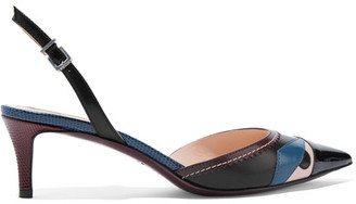 Fendi - Bag Bug Appliquéd Leather Pumps - Black $750 thestylecure.com