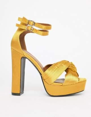 Glamorous Satin Chunky Heeled Sandals