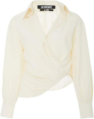 Jacquemus Sabah Asymmetric Linen-Blend Shirt