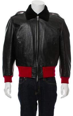 Calvin Klein Leather Shearling Bomber Jacket w/ Tags