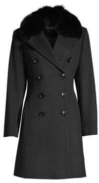 Sofia Cashmere Fox Fur Collar Wool& Cashmere Coat