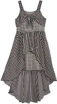 Sequin Hearts Knot-Front Gingham Maxi Dress, Big Girls