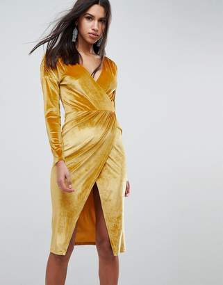 Asos DESIGN Gold Velvet Wrap Midi Dress