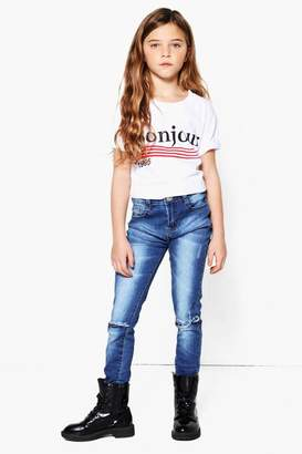 boohoo Girls Ripped Knee Skinny Jeans
