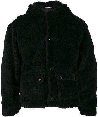 GCDS embroidered logo shearling jacket