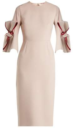 Roksanda Lavete Bow Sleeve Bonded Crepe Dress - Womens - Light Pink