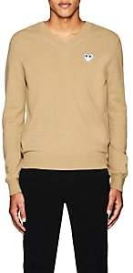 Comme des Garcons Men's Heart Wool V-Neck Sweater - Camel