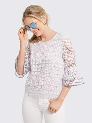Draper James Gingham Lattice Double Bell Blouse