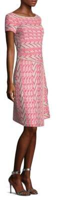 St. John Chevron Knit A-Line Dress