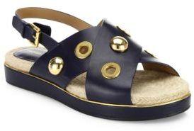 Michael Kors Collection Hallie Studded Leather Crisscross Slingback Sandals