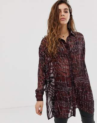 Religion oversized sheer blouse in croc print