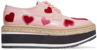 Prada Appliquéd Leather Platform Brogues - Pastel pink