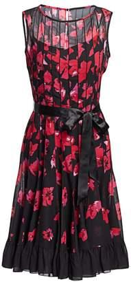 Teri Jon By Rickie Freeman Seamed Floral Fit-&-Flare Dress