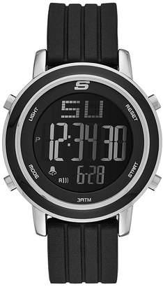 Skechers Womens Black Silicone Strap Digital Chronograph Watch