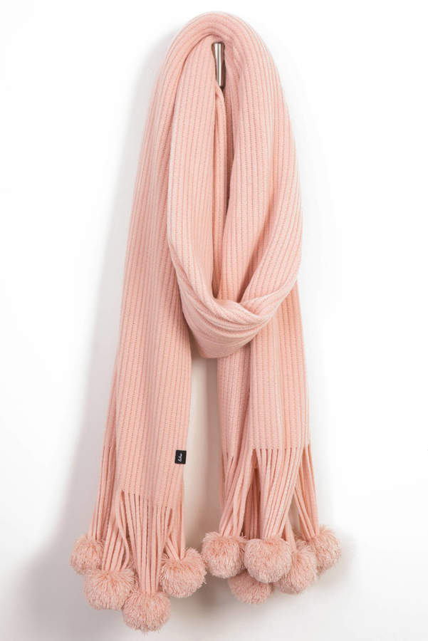 Echo Design Solid Ribbed Oblong Scarf With Poms
