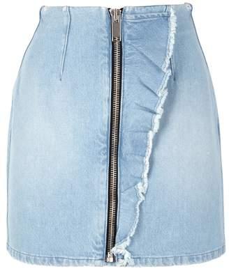 MSGM Blur Ruffled-trimmed Denim Skirt