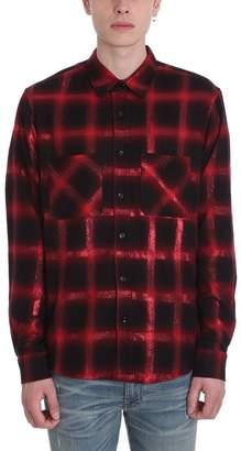 Amiri Red And Black Wool Glitter Shirt