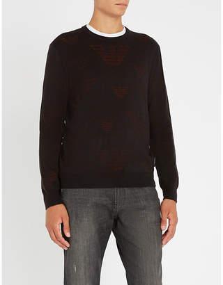 Emporio Armani Eagle-intarsia wool-blend jumper