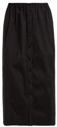 Carolina Herrera High Rise Cotton Blend Poplin Midi Skirt - Womens - Black