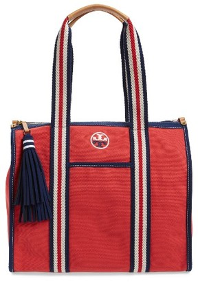 Tory Burch Preppy Canvas Tote - Red $250 thestylecure.com