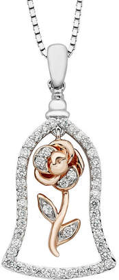 ENCHANTED FINE JEWELRY BY DISNEY Enchanted Disney Fine Jewelry Womens 1/4 CT. T.W. Genuine White Diamond Sterling Silver Flower Beauty and the Beast Pendant Necklace
