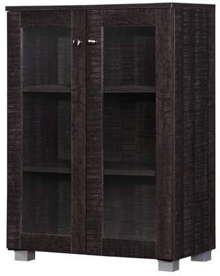 Baxton Studio Mason Modern and Contemporary Dark Brown Multipurpose Storage Cabinet Sideboard with 2 Class Doors