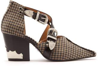 Toga Buckle-fastening checked wool ankle boots