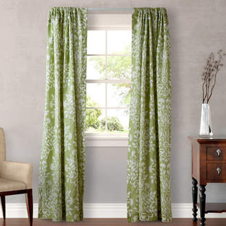 Laura Ashley Rowland Damask Semi-Sheer Rod pocket Curtain Panels by Home