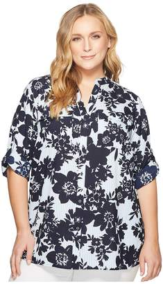 Calvin Klein Plus Plus Size Printed Roll Sleeve Blouse Women's Long Sleeve Pullover