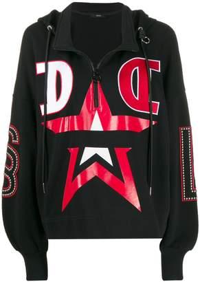 Diesel stud detail hooded sweatshirt
