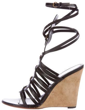 Saint LaurentYves Saint Laurent Leather Ankle Wrap Wedges
