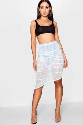 boohoo Rouched Printed Mesh Midi Skirt