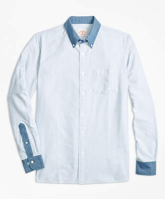 Brooks Brothers Chambray-Trim Striped Cotton Oxford Sport Shirt
