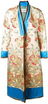Etro jacquard fur trim coat
